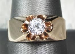 mens rings antique images Antique ring 1800 39 s mens ring 10k gold white topaz ring jpg