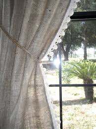 burlap curtain with free jute tieback 38 wide x