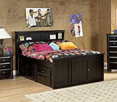 Bed With Headboard And Drawers Amazon Com Full Bed With Bookcase Headboard And Storage Kitchen