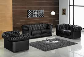 black leather tufted sofa combined with gray fur rug on the gray
