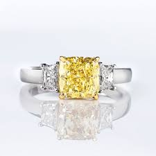 fancy yellow diamond engagement rings fancy yellow diamond ring cushion 2 28 carat vs1 naturally