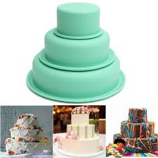 home cake decorating supply 3pcs set round silicone cake bread mold muffin fondant jelly mould