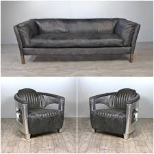 canapé gris cuir canapé cuir gris vintage avec 2 fauteuils aviateur cuir gris vieilli