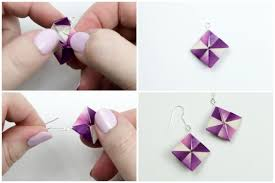 origami earrings how to make origami earrings