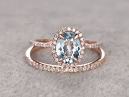 aquamarine wedding rings oval aquamarine bridal ring set diamond wedding band gold