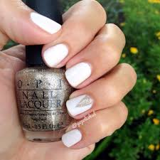 elegant nail design manicure using essie marshmallow and opi my