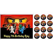 48 x lego ninjago 2 cupcake cake toppers amazon co uk kitchen