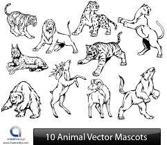 black u0026 white animal sketch pack vector download