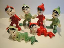 vintage 1950s and green bone china elves figurines
