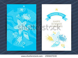 bright summer holidays cards sea elements stock vector 296439455