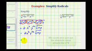 ex simplify radicals with variables containing large exponents