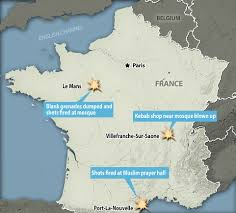 France On A Map by Revenge Attacks In France See Mosques Come Under Fire With Guns