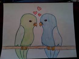 drawn lovebird easy pencil and in color drawn lovebird easy