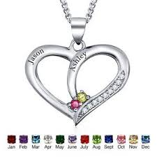 personalized heart pendant personalized heart necklaces engrave names birthstone promise
