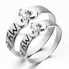 Personalized Name Ring Personalized Name Engraved Heart Shaped Promise Rings For Couples