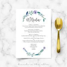 wedding menu template blue floral wedding food menu template wedding menu cards