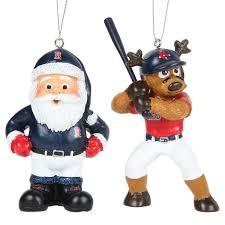 boston sox reindeer santa 2 pack ornament set