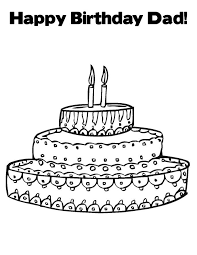 birthday dad cake coloring page graphic for share on facebook