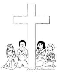 children with cross coloring page teach kids about christ
