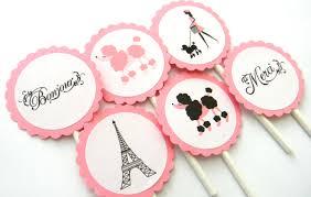 12 paris cupcake toppers paris birthday baby shower paris