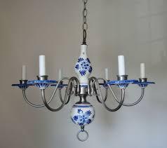 Blue Delft Chandelier Fabulous Blue White Delft Porcelain Pewter 6 Light Chandelier
