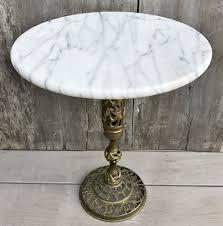 vintage pedestal side table vintage mid century marble top moroccan pierced brass pedestal base