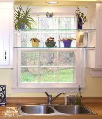 kitchen window shelf ideas diy glass shelves in front of kitchen window hometalk