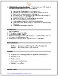 chartered accountant resume format freshers page 2 cv examples