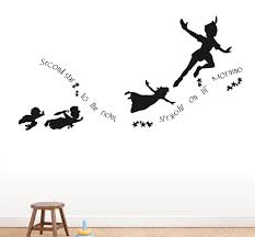 peter pan and wendy flying silhouette tattoo peter pan never grow second star to the right peter pan flying nursery kids daycare love wall peel stick vinyl wall decal cat in the hat read