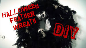 black feather wreath halloween