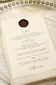 wedding menu cards invitations more photos custom wax seal menu card inside