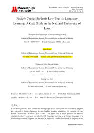 thesis about education in english factors causes students low english language in national university o