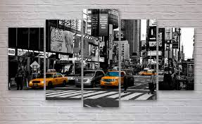 new york taxi print etsy new york city time square yellow taxi cabs 5 piece panel canvas