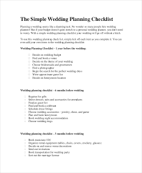 simple wedding planning wedding planner checklist 12 free word pdf psd documents