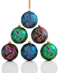 set of 6 shatterproof peacock feather ornaments
