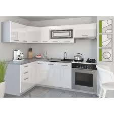 cuisine équipée blanc laqué justhome lidja p l cuisine équipée complète 130x230 cm couleur