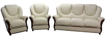 Juliet  Genuine Italian Cream Leather Sofa Suite Offer - Cream leather sofas