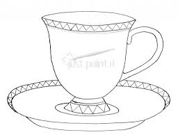 tea party printables throughout cup coloring page eson me