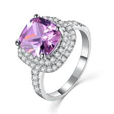 aliexpress buy 2ct brilliant simulate diamond men never tarnish 14k white gold ring pink jewelry 2ct halo paved