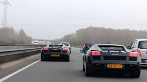 is lamborghini a german car 2x lamborghini gallardo racing on autobahn 1080p hd