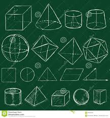 vector set of chalk sketch geometric shapes stock illustration