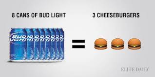 bud light beer calories drinking your calories how alcohol compares to your favorite food