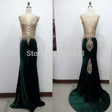 100 real luxury long dark green velvet evening dress sheer