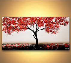 painting white blossom tree painting modern palette knife