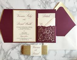 invitation pockets laser cut pocket wedding invitation burgundy and gold glitter