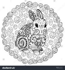high detail patterned rabbit zentangle style stock vector
