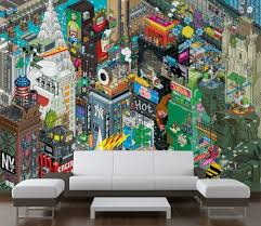 cool wallpapers cityscape murals style of pixelated art home