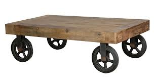 industrial coffee table with wheels brown rectangle solid wood industrial coffee table with wheels