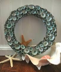 seashell wreath xl large aqua sea blue green limpet shell wreath 20 24