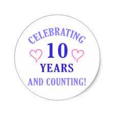 10th year wedding anniversary 10th wedding anniversary stickers zazzle